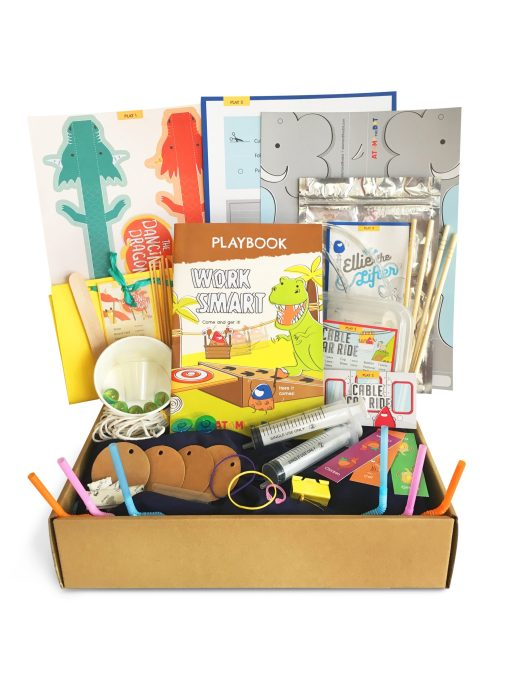 Work Smart box containing materials and instructions to learn about simple machines