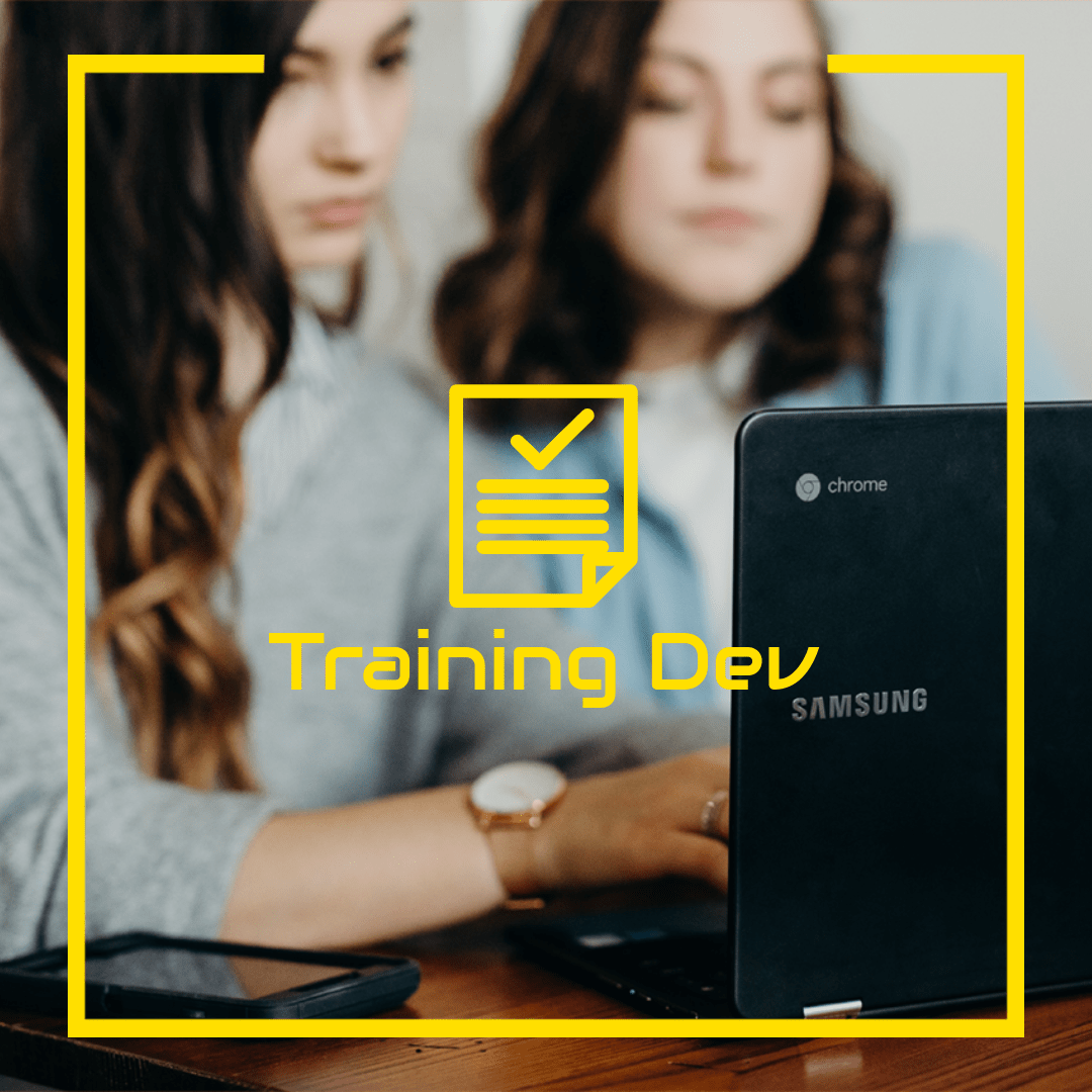 Two women with a laptop, taking a class, set behind the words Training Development