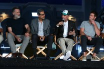"""EXCLUSIVE - Bill Pullman, Jeff Goldblum, Director/Writer Roland Emmerich and Liam Hemsworth seen at the """"Independence Day Resurgence"""" Global Production Event on Monday, June 22, 2015, in Albuquerque, New Mexico. (Photo by Eric Charbonneau/Invision for Twentieth Century Fox/AP Images)"""