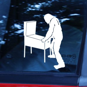 silhouette of a bigfoot playing pinball car decal