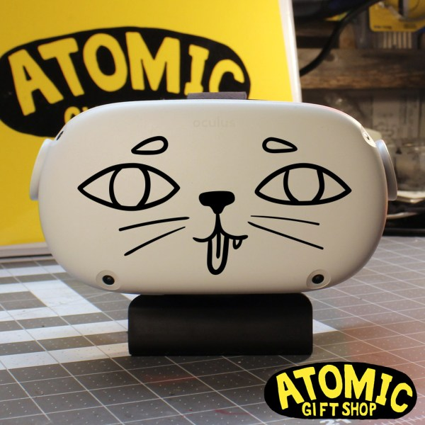 happy cartoon cat with tongue sticking out decal. Perfect for oculus quest 2 or car windows