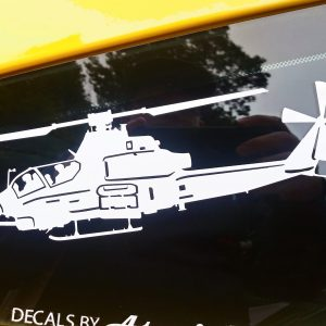 product shot of Vinyl decal of AH 1 attack helicopter