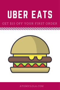 Uber Eats pinterest graphic with personal code for $15 off first order with picture of a hamburger