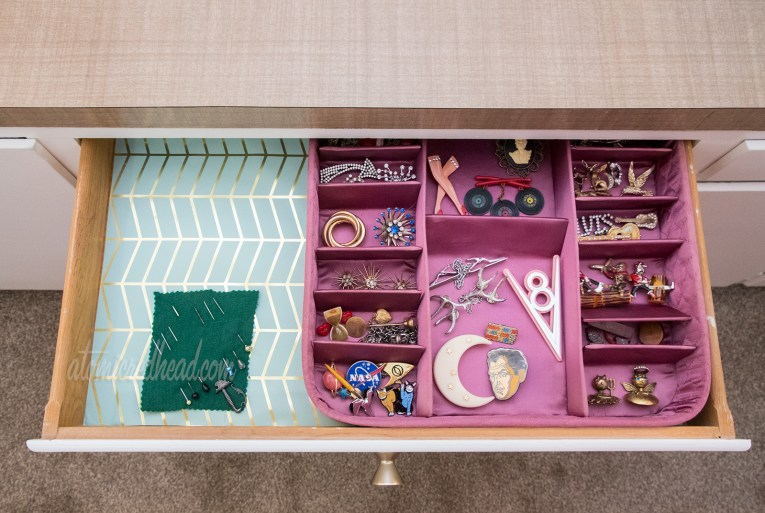 Vintage stocking boxes make great storage solutions for jewelry