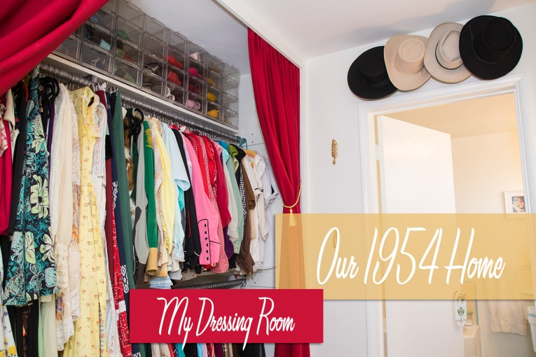 My dressing room, including closet, hats, and shoe storage in Our 1954 Home