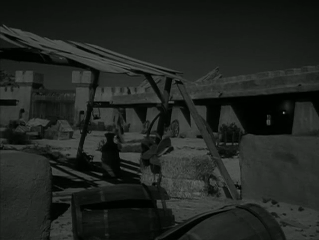 "Vasquez Rocks in the background of a villain's fort in The Wild Wild West episode ""The Night of the Sudden Plague."""