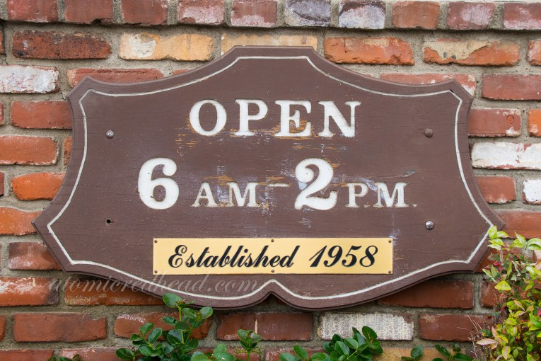 Original Pancake House hours sign, open 6 a.m. to 2 p.m., established in 1958.