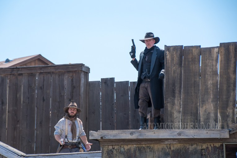 Members of the dreaded Mayfield Gang atop the roofs of Calico.