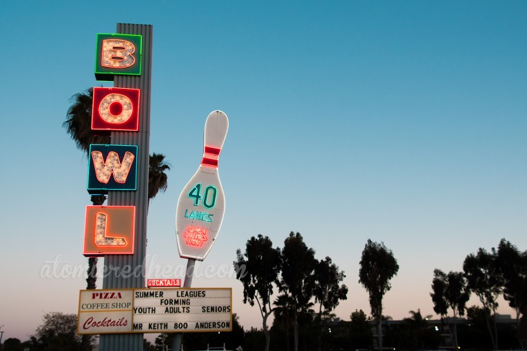 "Linbrook Bowl's sign, with ""Bowl"" spelled out on the left, and a large bowling pin reading that they offer 40 lanes."