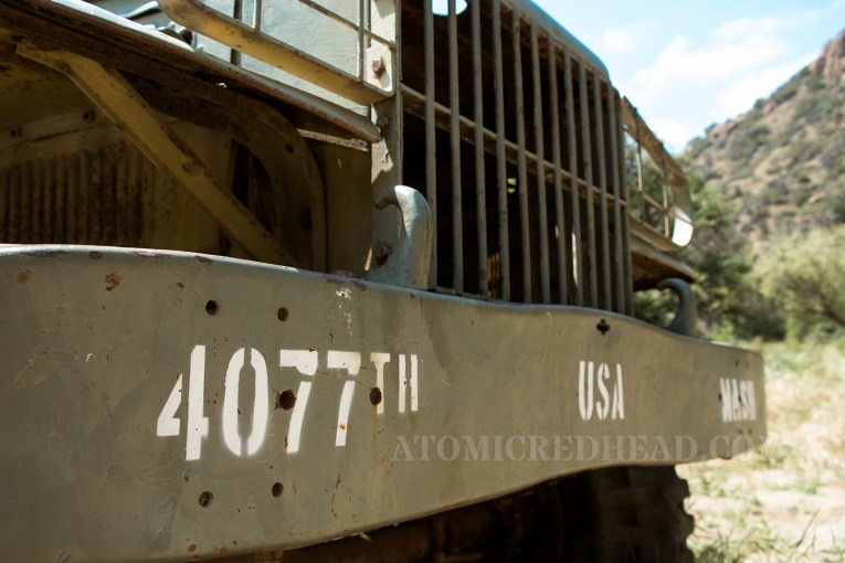 """Close up of the bumper of the painted ambulance with """"4077th"""""""