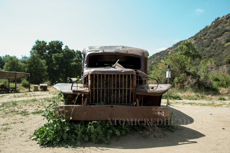 The front of a rusted out old ambulance used in the show.