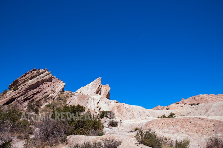 Peaks of Vasquez Rocks against a bright blue sky.