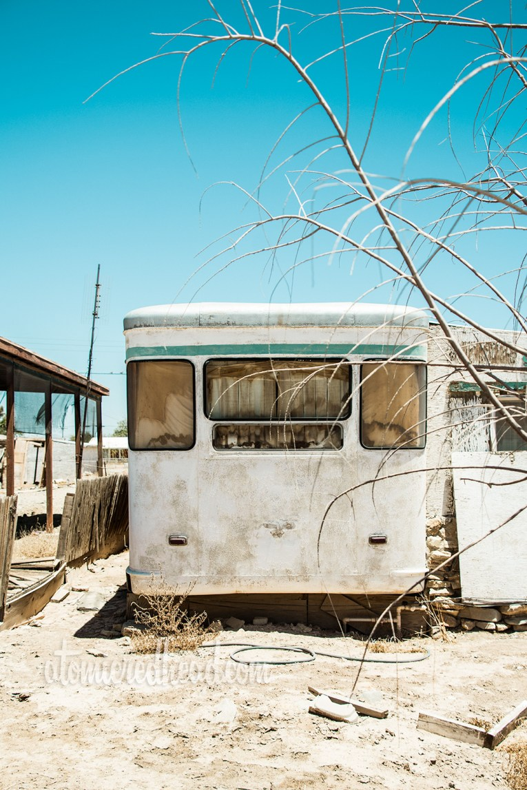 Vintage trailer sitting fading in the sun