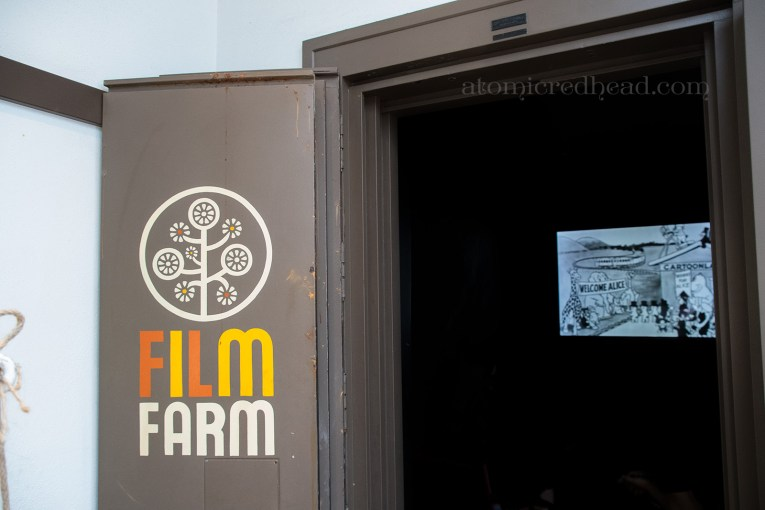 The old vault is now a tiny cinema showing old cartoons.