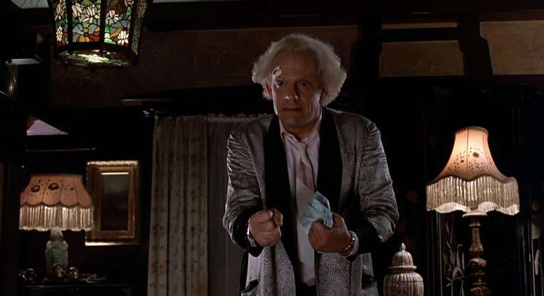 Interior of the Blacker House as seen in Back to the Future - Doc discusses harnessing the power of lightening.