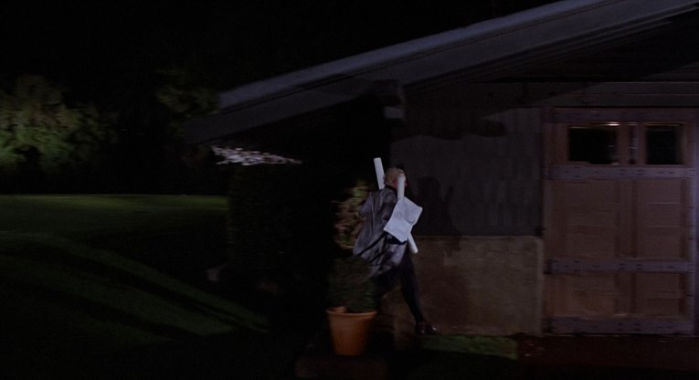 The Gamble House garage as seen in Back to the Future as Doc runs toward it to escape Marty in 1955.