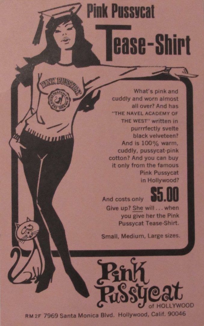 """Flyer for the """"tease shirt"""" for the Pink Pussycat"""