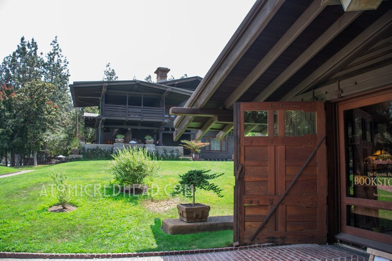 The garage of the Gamble House, now the bookstore.