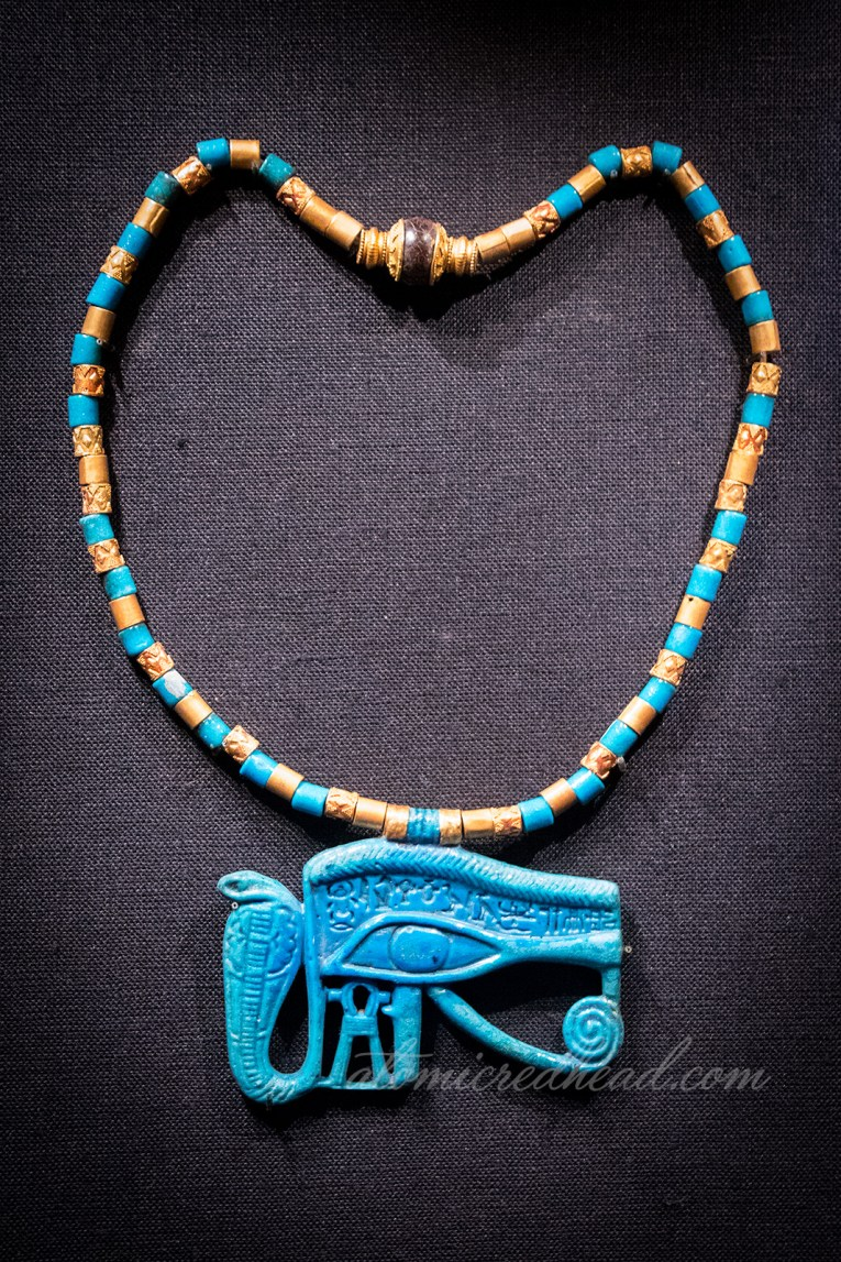 A necklace featuring the eye of Horus.