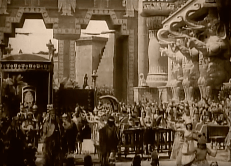 The sets as seen in the film, massive archways, twice as wide as the ones at the shopping enter, and multiple elephant statues.