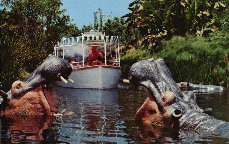 A Jungle Cruise skipper shoots at hippos.