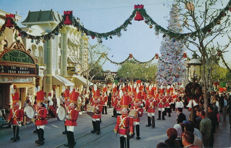 Christmas parade at Disneyland, with toy soldiers marching down Main Street.