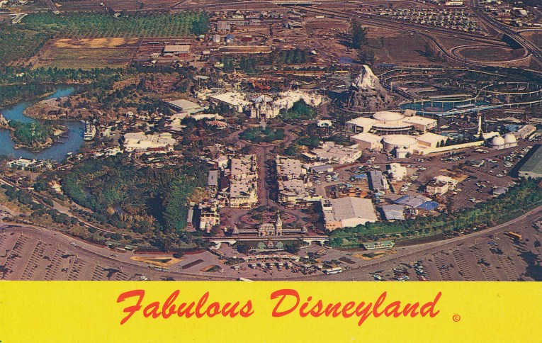 """An arial view of Disneyland, with Sleeping Beauty's Castle in the middle, and each of the lands radiating out from the middle. """"Fabulous Disneyland"""" is written across the bottom."""