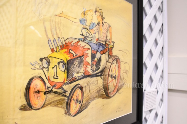"Concept art for ""Tractor Ride"" an attraction that never was. Illustration features a hot rod and a couple arguing in the car."