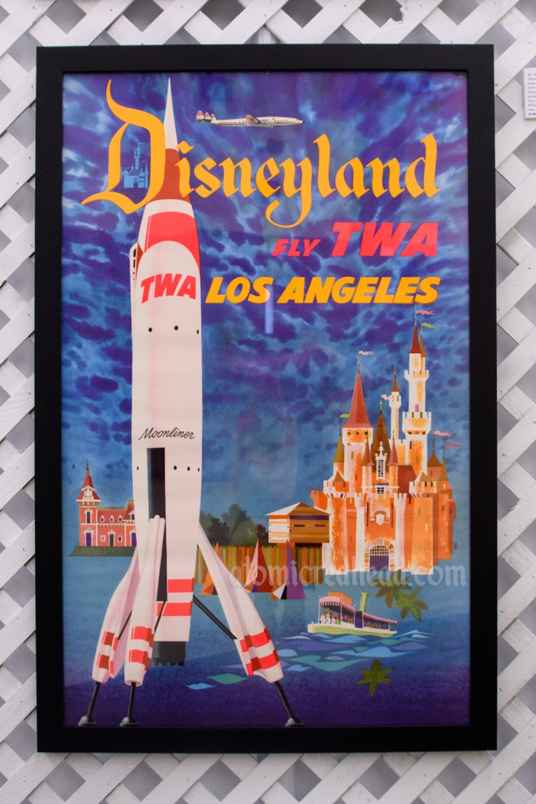 "Poster advertising the TWA rocket to the moon rocket, and the castle, reading ""Disneyland Fly TWA Los Angeles"""