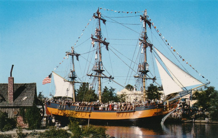 The Sailing Ship Columbia. A tall three mast ship that was the first American ship to circumnavigate the globe.