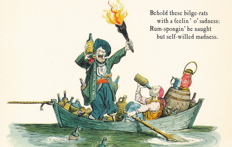 "Concept art for Pirates of the Caribbean - Two pirates in a boat full of bottles, one drinking, the other with bottle in one hand and a torch in another. Text reads ""Behold these bilge-rats with a feelin' o'sadness: Rum-spongin' be naught be self-willed madness."