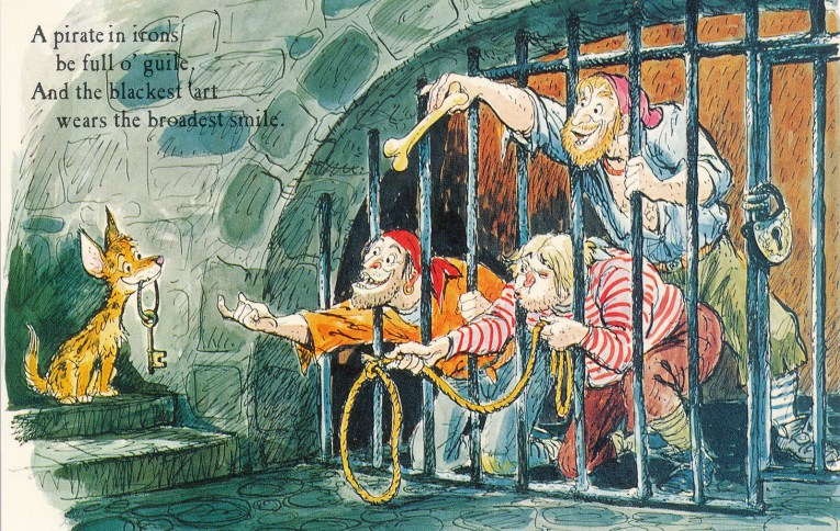 """Concept art for Pirates of the Caribbean - Three pirates behind bars try to entice a dog with keys with a bone. Text reads """"A pirate in irons be full o'guile. And the blackest 'art wears the broadest smile."""""""