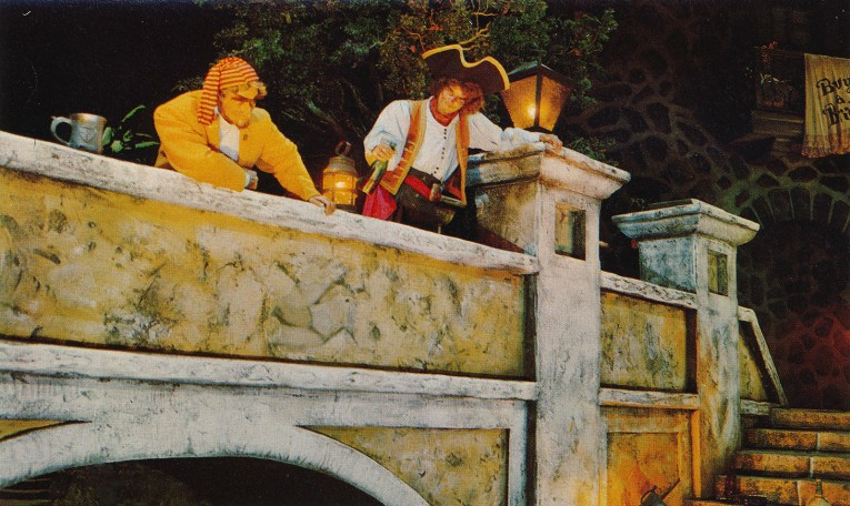 Inside Pirates - a pirate leans on a bridge railing with a bottle of rum.