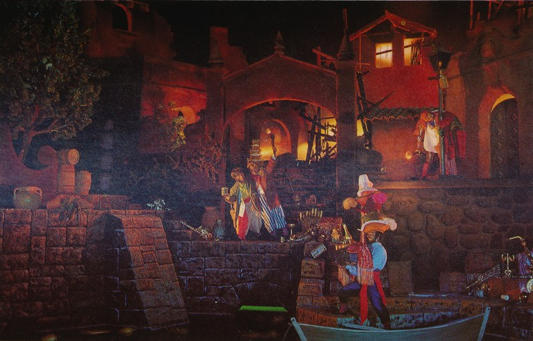 Inside Pirates - the town burns as a pirate tries to escape with loot, while two drunk pirates lean on a lamppost.