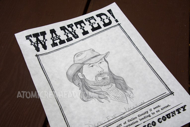 """Drawing """"wanted"""" posters is an activity for guests. Here is my illustration of Dead Eye Jackson, wanted for supposedly robbing the bank."""