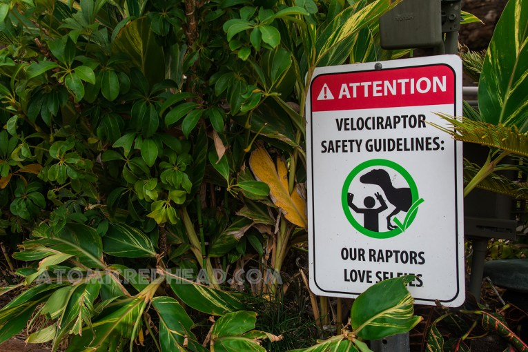 A sign informs guests that the velociraptor likes selfies.