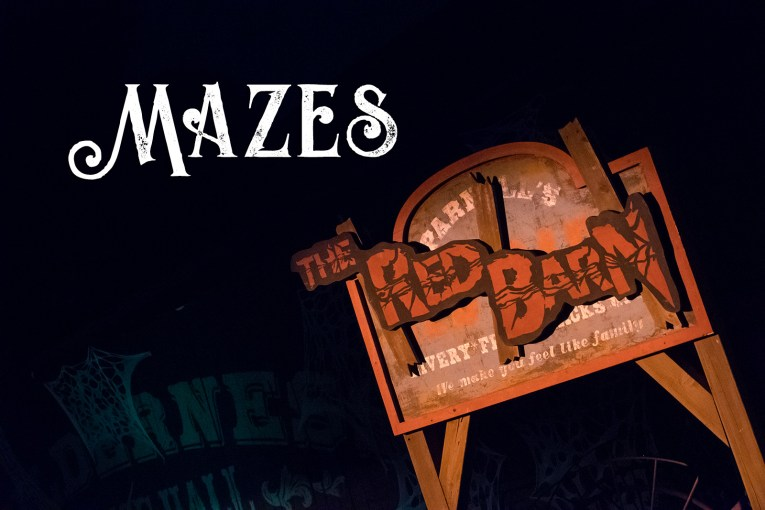 "Mazes - The sign for the maze ""The Red Barn"""