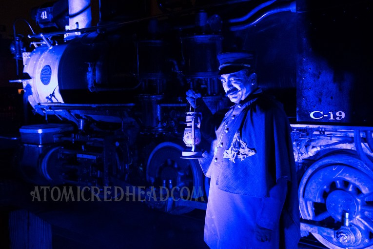 A ghostly train conductor tries wonders along the tracks.