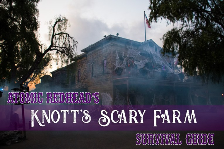 Atomic Redhead's Knott's Scary Farm Survival Guide - An old west hotel covered in cobwebs. Two skeletons in western attire stand on the balcony.