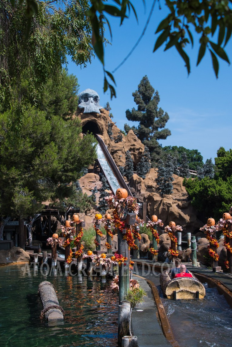 The drop on the Timber Mountain Log Ride, the top of the mountain features a large skull, and the wooden pillars below are topped with pumpkins and fall leaves.