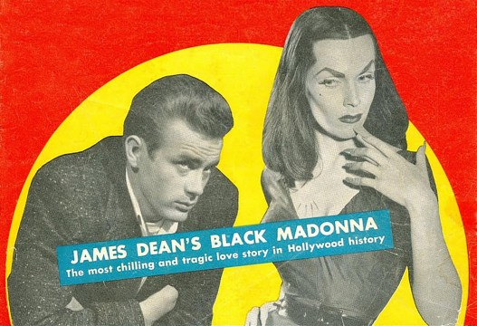 Cut out images of James Dean and Vampira set against a yellow and red background.