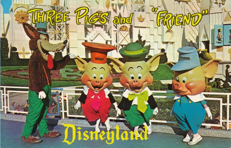"""The Three Little Pigs and the Big Bad Wolf stand in front of it's a small world, text reads """"Three Pigs and 'Friend' Disneyland"""""""