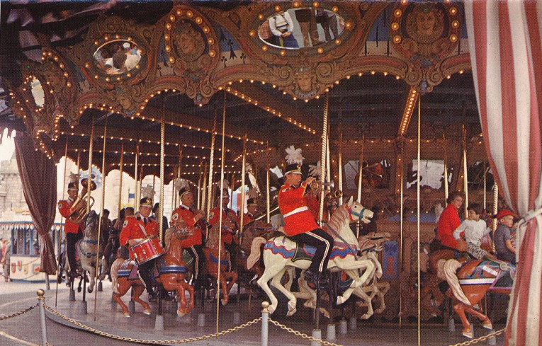 The Disneyland Band takes to the horses on the carousel.