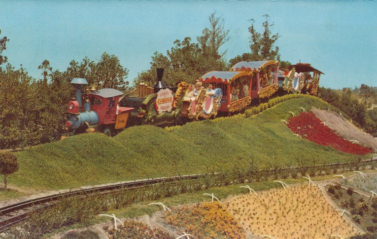 "Casey Jr. train travels down the hill that it ""thought it could"" make."