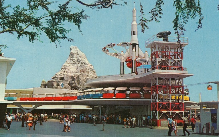 The PeopleMover track glides around the new Rocket Jets that spin high above Tomorrowland.