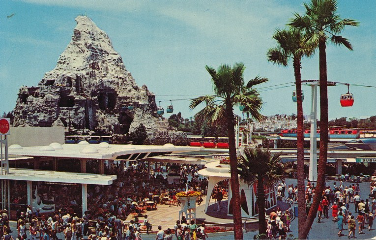 The Tomorrowland Terrace with the Matterhorn in the distance.