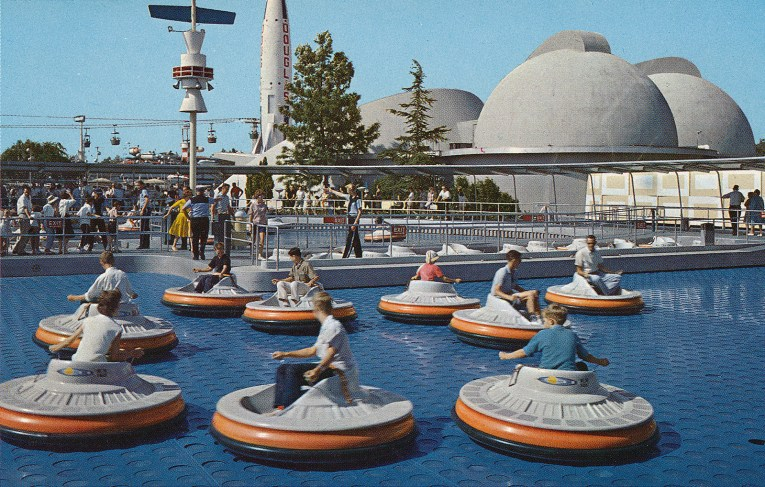"""Guests """"fly"""" around on circular Flying Saucers, which operate similar to hover crafts."""