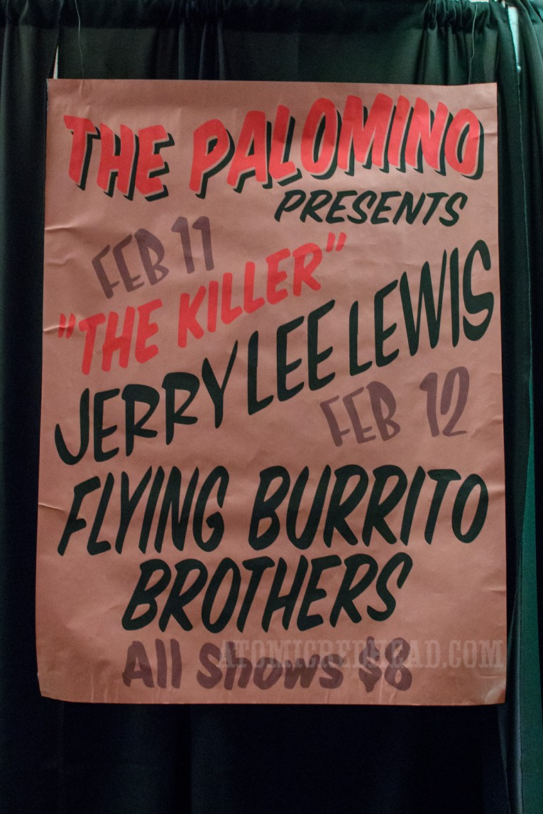 "An original poster from The Palomino, it reads ""The Palomino presents Feb 11 'The Killer' Jerry Lee Lewis Feb 12 Flying Burrito Brothers All Shoes $8"