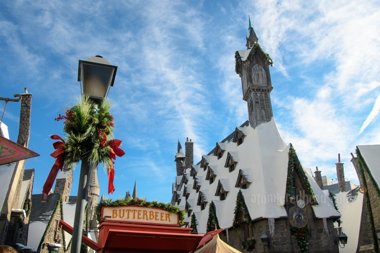 Snowcapped roofs of Hogsmeade.