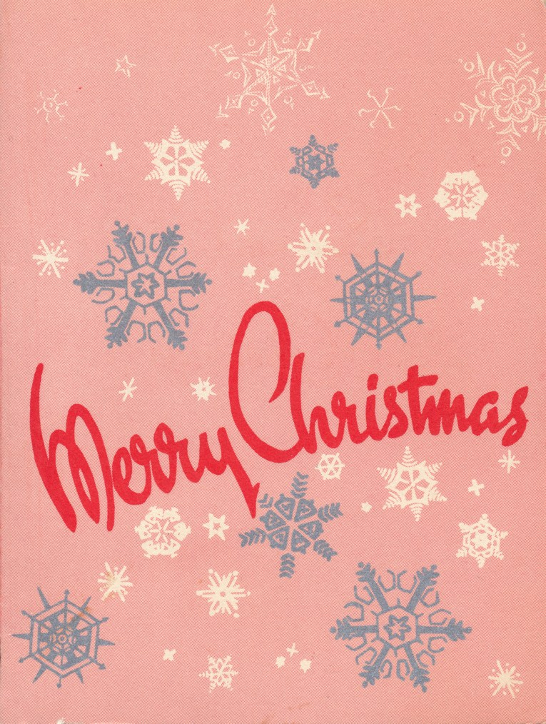 """A pink background with silver and white snowflakes, in red script font it reads """"Merry Christmas"""""""